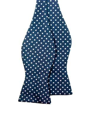 Self Tie Polka Dot Non Silk Bow Ties in Dark Blue/White